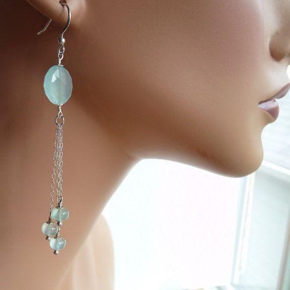 Long Chalcedony Gemstone Earrings with 925 Silver by FacetsJewelry, $69.00
