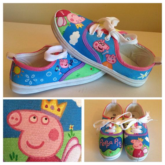 Peppa Pig Handpainted Shoes by ShoesByGeorgiaNZ on Etsy
