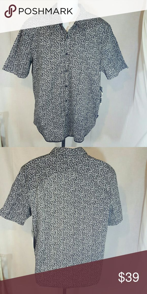 "Zak Black White Short Sleeve Shirt Size XL 24"" arm pit to arm pit 30.5"" long Zak Shirts Casual Button Down Shirts"