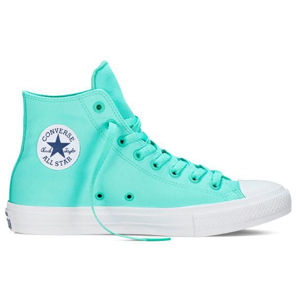 TheNeon Teal Hi-Top Chuck Taylor All-Star II by Converse might just be the perfect shoe for summer. The neon color trend is alive and well, making this a legit