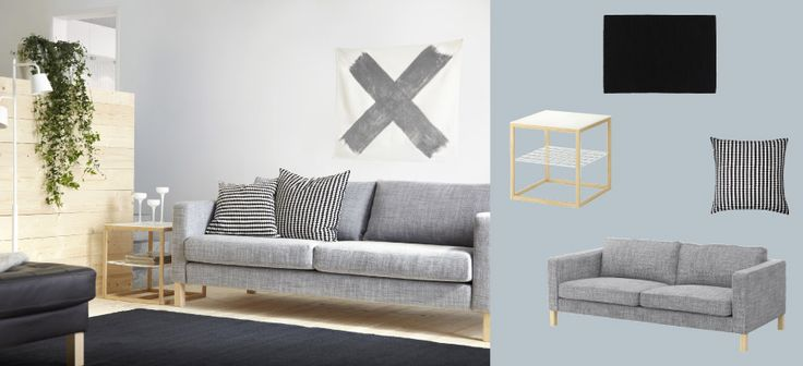 KARLSTAD three-seat sofa with Isunda grey cover and IKEA PS 2012 side table in white/bamboo -- NOTE: sofa color/texture, and how easy it could be to accessorize.
