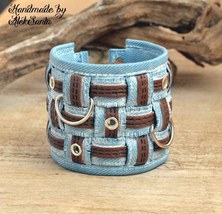 Boho bracelet Cuff bracelet Faux jeans bracelet Hippie bracelet Light blue bracelet Chunky bracelet Everyday bracelet Polymer clay jewelry by HandmadeByAleksanta on Etsy