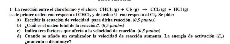 Ejercicio 1, propuesta 2, SETIEMBRE Fase Específica 2009-2010. Examen PAU de Química de Canarias. Contiene pregunta sobre CINÉTICA QUÍMICA.