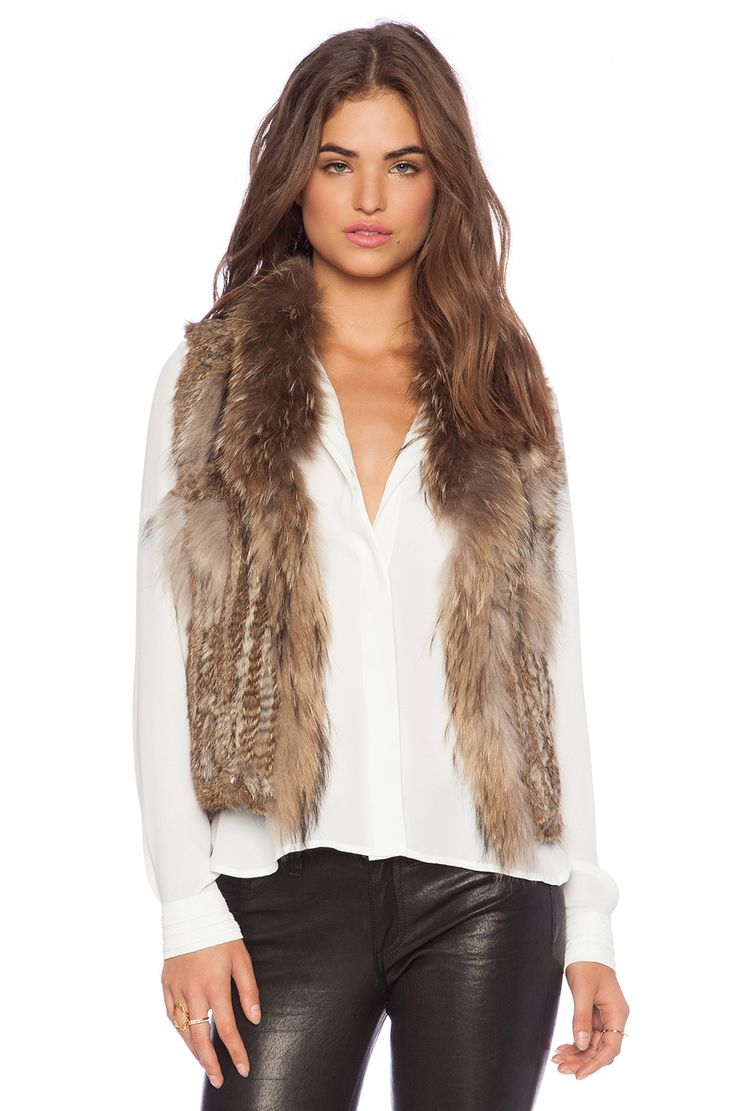 Jennifer Kate Short Rabbit Fur Gilet Vest in Caramel Size: Medium