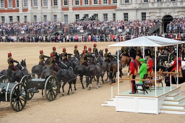 A general view of members of the British military during Trooping the Colour, this year marking the Queen's 90th birthday at The Mall on June 11, 2016 in London, England. The ceremony is Queen Elizabeth II's annual birthday parade and dates back to the time of Charles II in the 17th Century when the Colours of a regiment were used as a rallying point in battle.