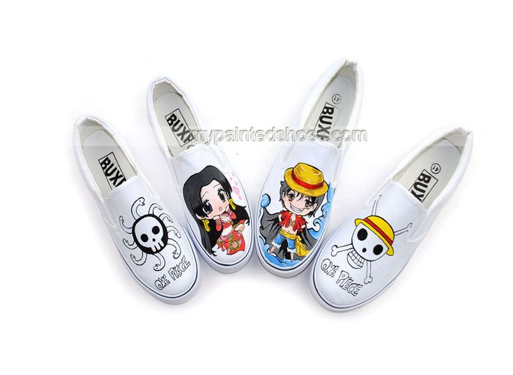Anime One Piece Pirate Empress Boa Hancock Hand Painted Canvas S,Low-top Painted Canvas Shoes