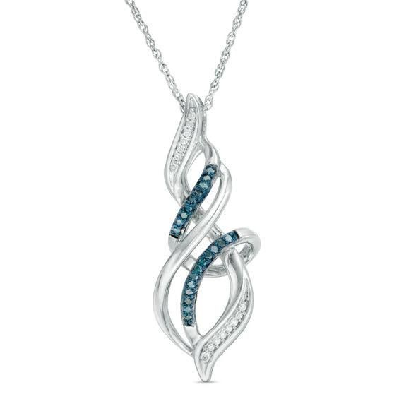Zales 1/10 CT. T.w. Enhanced Blue and White Diamond Flame Pendant in 10K White Gold 4KzeD