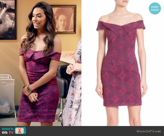 Kibby's purple and pink printed off-shoulder dress on Daytime Divas.  Outfit Details: https://wornontv.net/75089/ #DaytimeDivas
