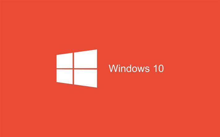 Download wallpapers Windows 10, minimal, art, red background, logo, Windows 10 logo, Microsoft