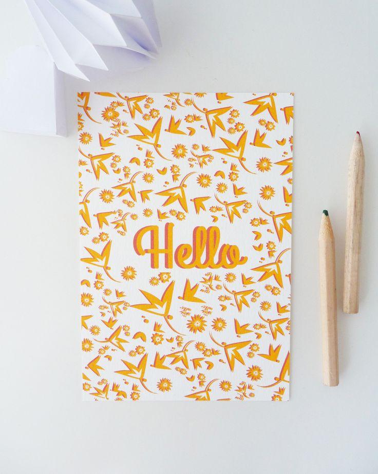 """Carte postale """"Hello"""" illustrée de petites fleurs : Cartes par papierpapier"""