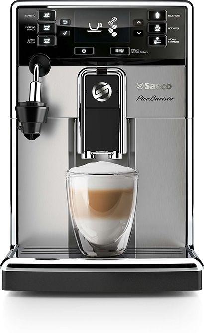 Saeco PicoBaristo HD8924/01  Saeco PicoBaristo HD8924/01: Premium compacte koffiemachine Met deze volautomatische koffiemachine van Saeco krijg jij in een mum van tijd de heerlijkste koffiespecialiteiten. De Saeco PicoBaristo HD8924/01 zet maar liefst elf soorten koffie met één druk op de knop! En wachten hoeft ook niet meer binnen 25 seconden is de machine klaar voor gebruik.Koffiesterkte aanpassen is ook geen probleem je kiest gewoon een van de vijf standen. Of pas de maalstand aan op een…