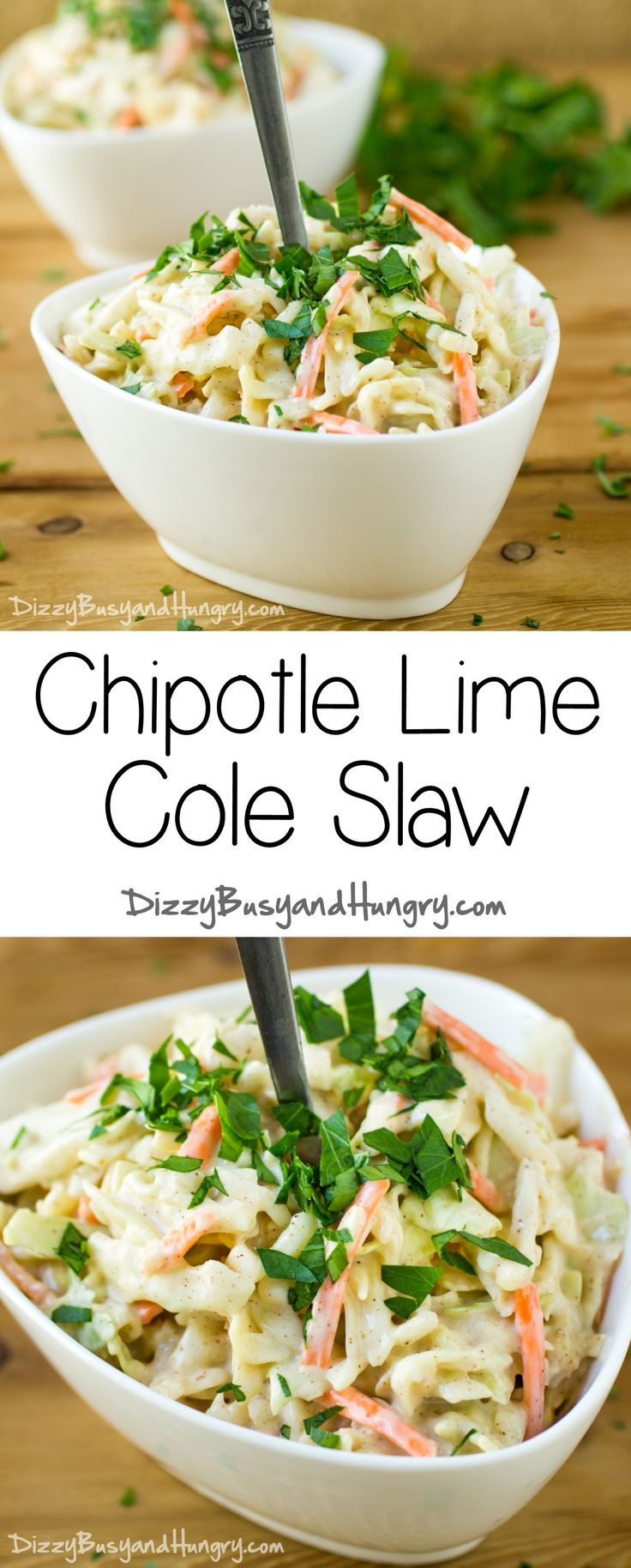 Chipotle Lime Cole Slaw #SundaySupper   DizzyBusyandHungry.com - Wowee! This easy cole slaw has SO much flavor, you won't believe your taste buds!
