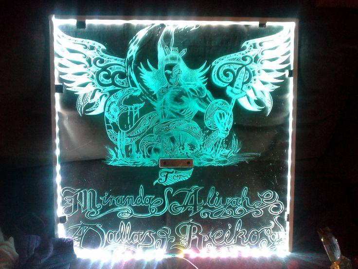 Glass engraving maori warrior white led