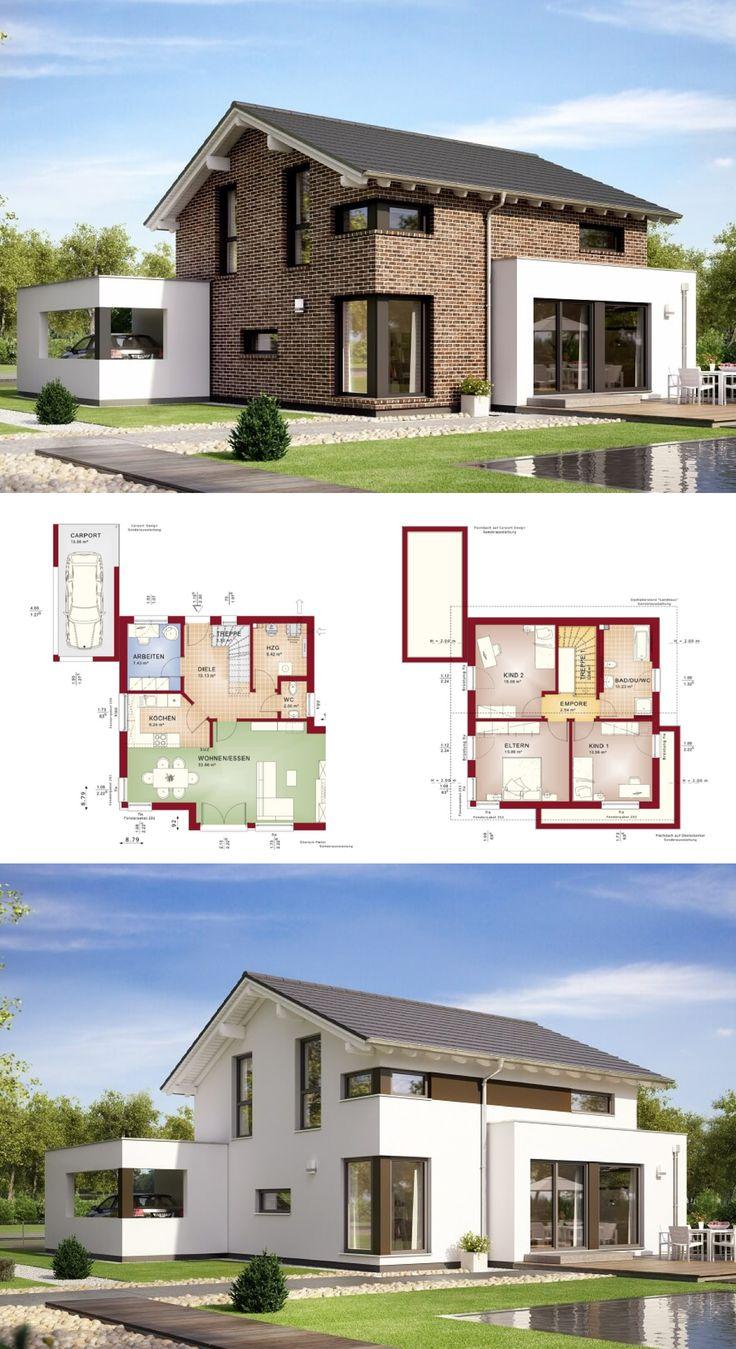 Modernes einfamilienhaus mit satteldach und klinker for Modernes einfamilienhaus grundriss