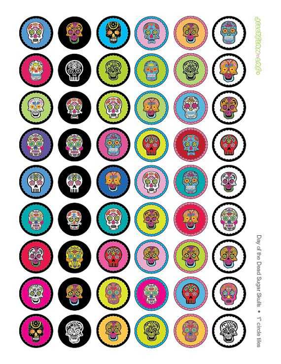 Day of the Dead Sugar Skull Graphics 1 inch and 20mm Circles Digital Collage Printable Sheet for Round Bottle Caps Instant Download on Etsy, $4.16