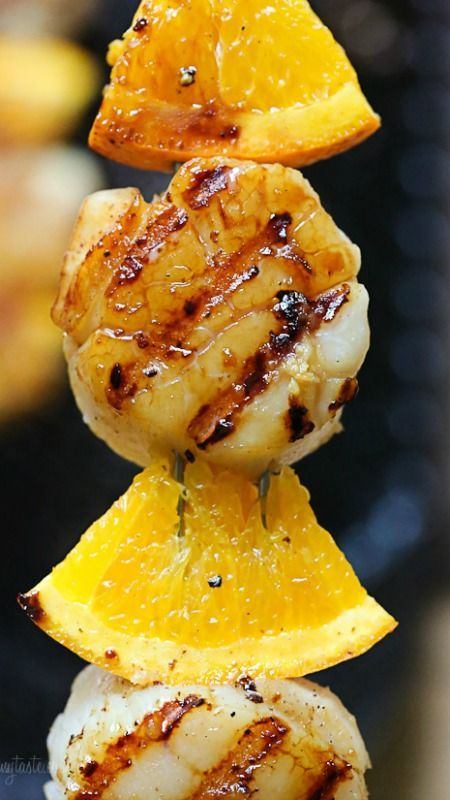 Grilled Scallop and Orange Kebabs with Honey-Ginger Glaze ~ These are FANTASTIC and really simple to make.