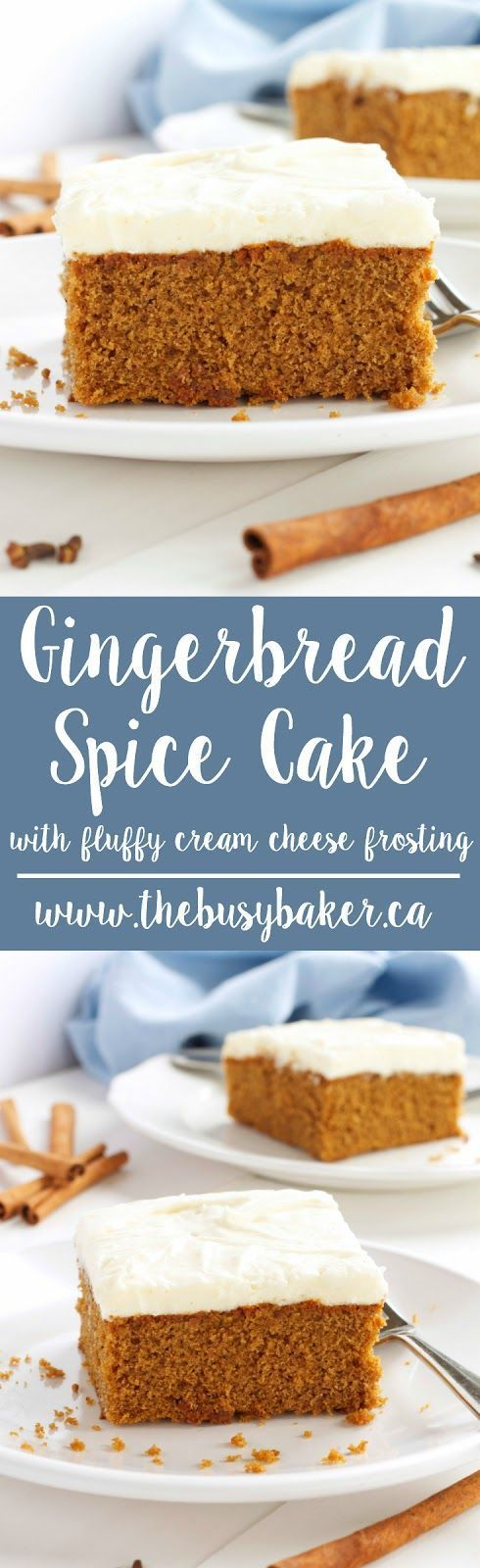 Gingerbread Spice Cake with Fluffy Cream Cheese Frosting. The perfect holiday dessert! http://www.thebusybaker.ca