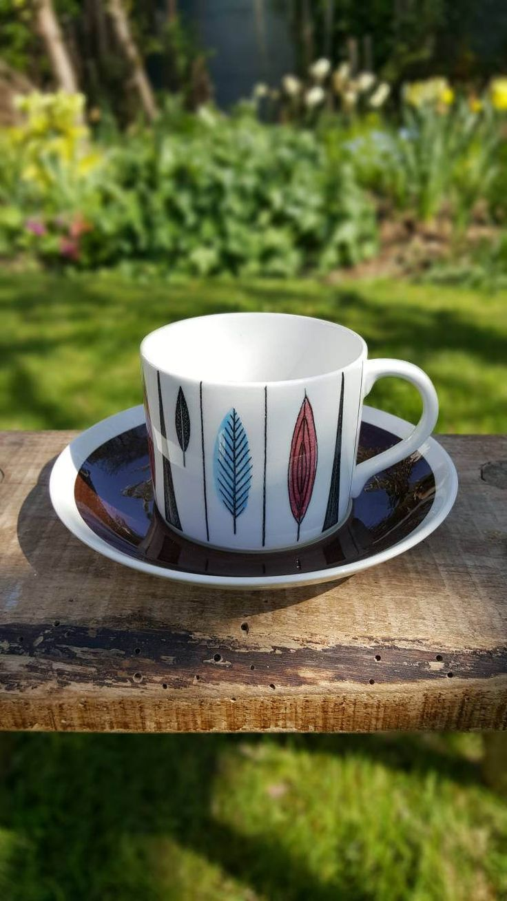 Rorstrand Tango Coffee Cup and Saucer / Mid Century Swedish Design Marianne Westmann /Hand Painted Retro Vintage Espresso Cup /Scandinavian by RetroandRitzy on Etsy