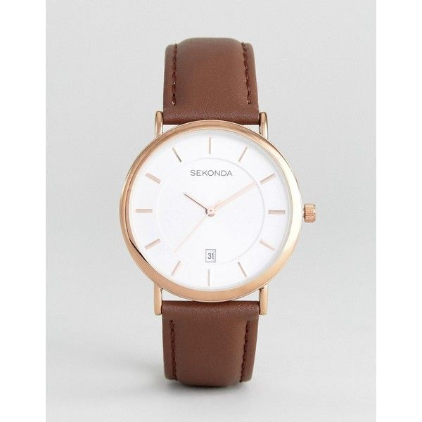 Sekonda Leather Watch In Brown Exclusive To ASOS ($68) via Polyvore featuring men's fashion, men's jewelry, men's watches, brown, mens leather watches, mens brown leather watches, sekonda mens watches and vintage style mens watches