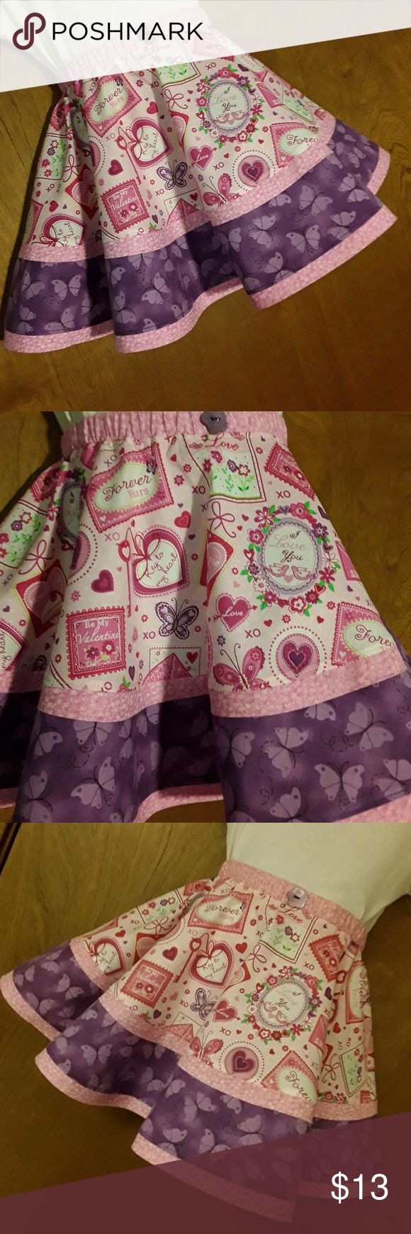 "Pixie Dust Designs Valentine's twirl skirt sz. 4 Handmade Boutique fashion new never worn. Girls twirl skirt size 2 Length of skirt 12"" long Around waist 18"" elastic waist Pixie Dust Designs Bottoms Skirts"