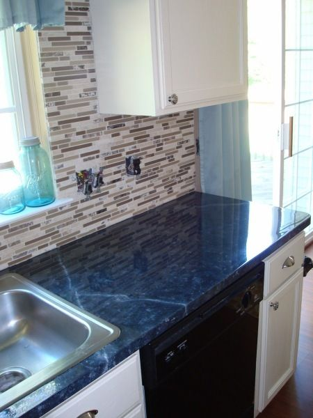 Painting a laminate counter top countertops faux for Navy blue granite countertops