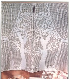 Free Filet Crochet Curtain Patterns | unusual filet crochet curtain pattern tall trees one curtain is approx ...