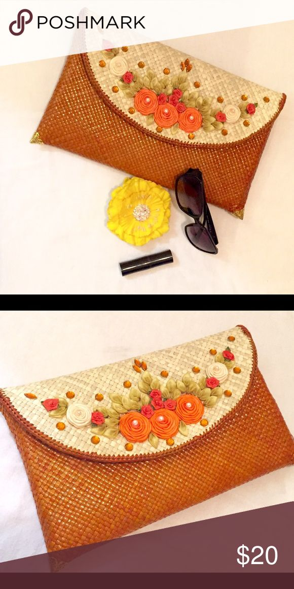 """Indonesian traditional decoupage clutch. Cute and fun Indonesian decoupage clutch with size 7""""x 11"""". I got this when I was traveling to Indonesia but unfortunately I never use it because never go out party. New with no tag and box. Bags Clutches & Wristlets"""