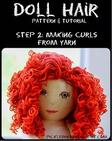Pickled Okra:: Doll Hair: free pattern and tutorial-Step 2, Making the Curls
