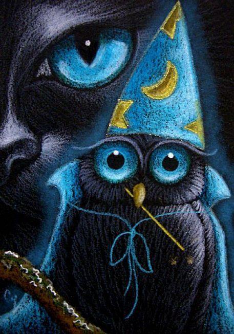 Art: HALLOWEEN BLACK CAT & OWL 10 by Artist Cyra R. Cancel