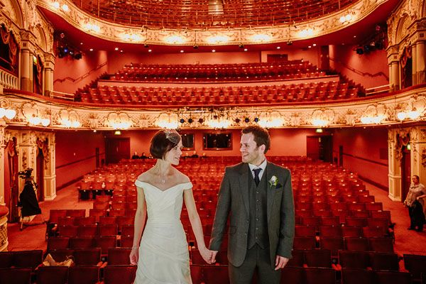 Contemporary crucible theatre wedding ceremony, photographed by Tierney Photography.