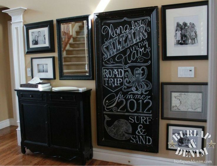 Black and White Chalkboard Gallery Wall Tutorial: Decor Ideas, Black And White, Galleries Wall, Chalk Boards, Chalkboards Art, Frames Chalk, Wall Galleries, Black Chalkboards, Chalkboards Wall