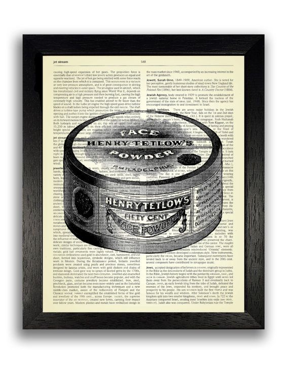 Vintage Face Powder Tub Art Print on Dictionary Page, Women's Vintage Make Up Poster, Retro Art Poster Bedroom Decor, Gift for Girlfriend