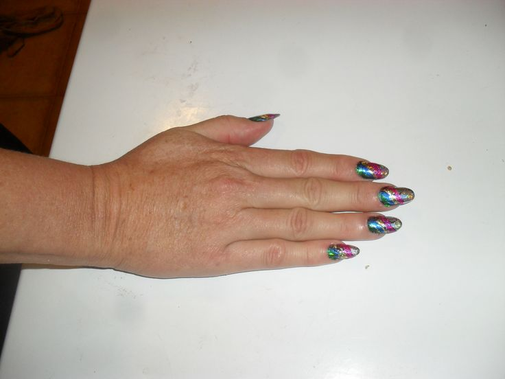 I used plenty of colour here, by doing a rainbow of different coloured foils very colourful and lots of comments.