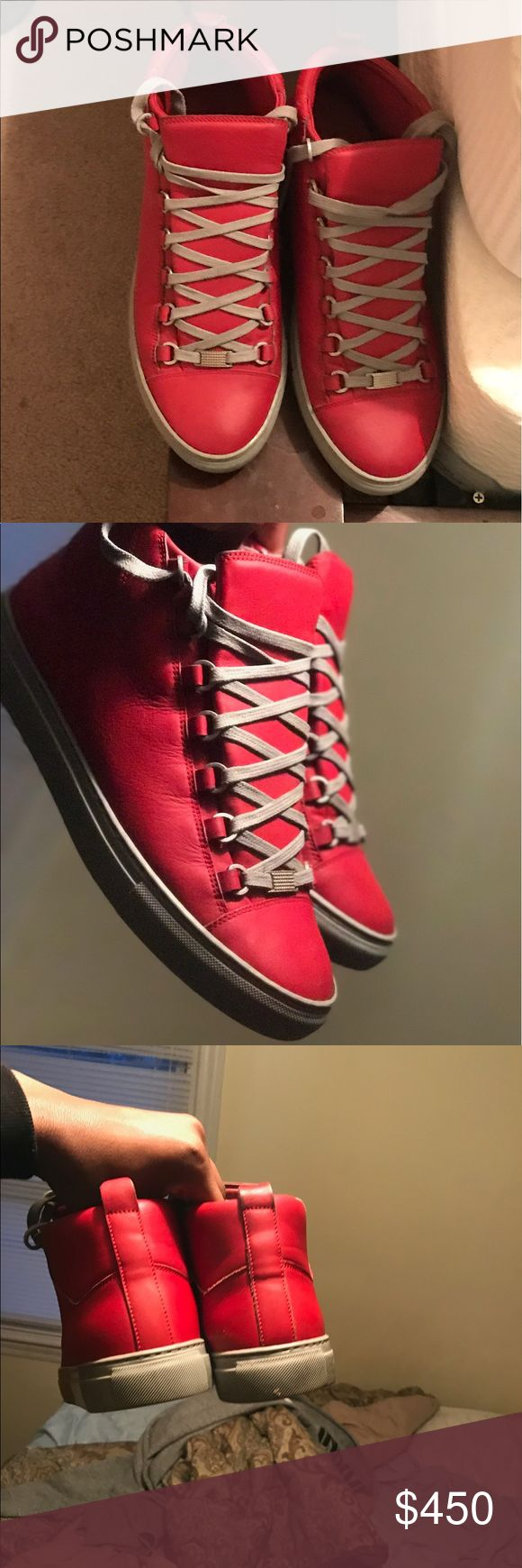 BALENCIAGA ARENA  SNEAKER 100% AUTHENTIC 100% AUTHENTIC BALENCIAGA ARENA HIGH TOP SNEAKER REGULAR PRICE $630-$645 WORN A FEW TIMES I TOOK PLENTY OF PICTURES SO CUSTOMERS CAN SEE THE HOW THEY LOOK UP CLOSE IF ADDITIONAL PICTURES ARE NEEDED JUST MESSAGE ME THESE WERE ONE OF MY FAV PAIR OF SNEAKERS SO ITS HARD LETTING GO LOL Balenciaga Shoes Sneakers