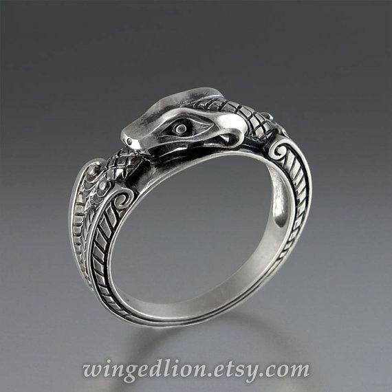 OUROBOROS silver mens Snake ring by WingedLion on Etsy, $260.00