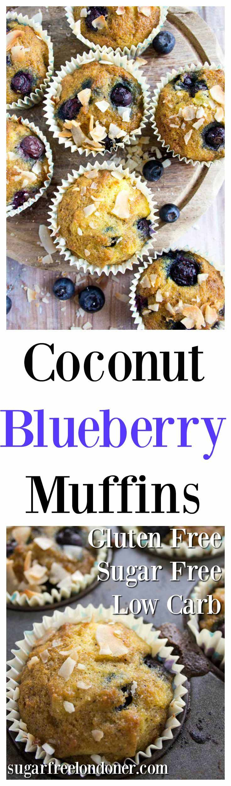 Light and golden coconut blueberry muffins - perfectly moist with fruity blueberry bursts. Enjoy as an on-the-go breakfast or as a satisfying snack. Gluten free and low carb.