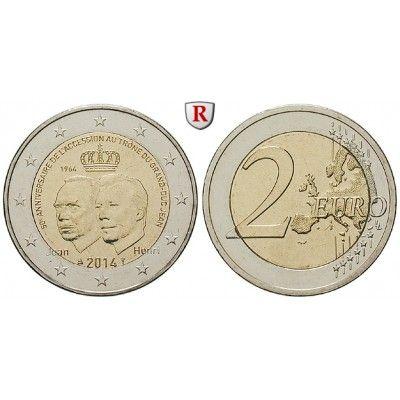 Luxemburg, Henri, 2 Euro 2014, bfr.: Henri seit 2000. 2 Euro 2014. Großherzog Jean. bankfrisch 5,00€ #coins
