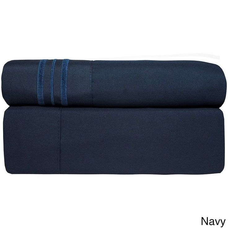 3 Piece TWIN Navy Blue Bed Sheet Set Fitted Flat Pillowcase New Free Shipping