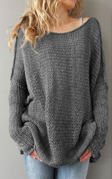 Oversized drop shoulder knit sweater. Must have one piece for women! Just match your ripped denim pants. See the full collection at AZBRO.COM.