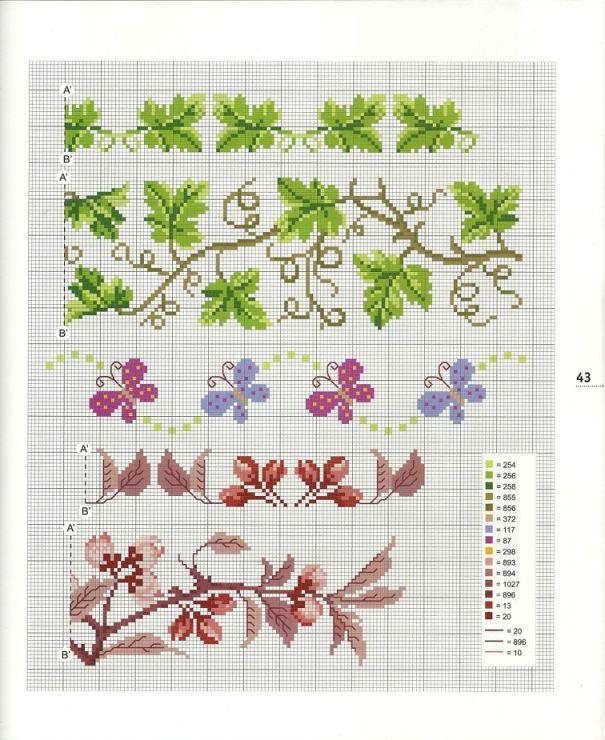 Fiori e farfalle 1 bordi e cornici a punto croce pinterest for Farfalle a punto croce
