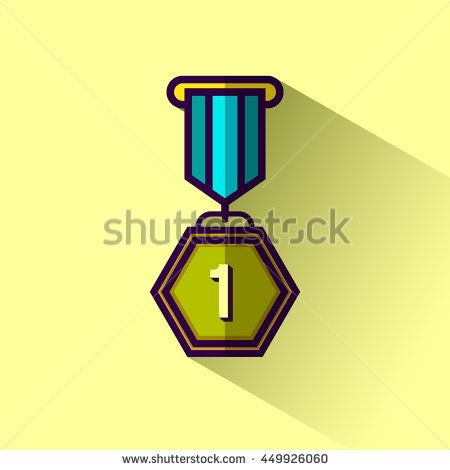 Medallion award 1st winner flat design icon with long shadow. Vector illustration.