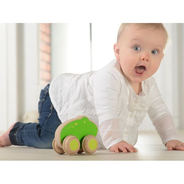 Adorable Green Frog-shaped push along toy made of FSC certified European beech. A perfect toy for baby who starts to grasp, hold and push objects.