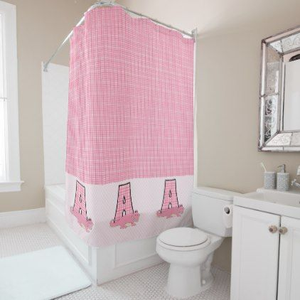 A is for Alligator Pink Checkered Monogram Shower Curtain - monogram gifts unique custom diy personalize