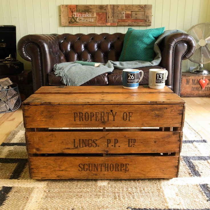 VINTAGE Industrial RUSTIC Farm PLANK Crate CHEST Coffee