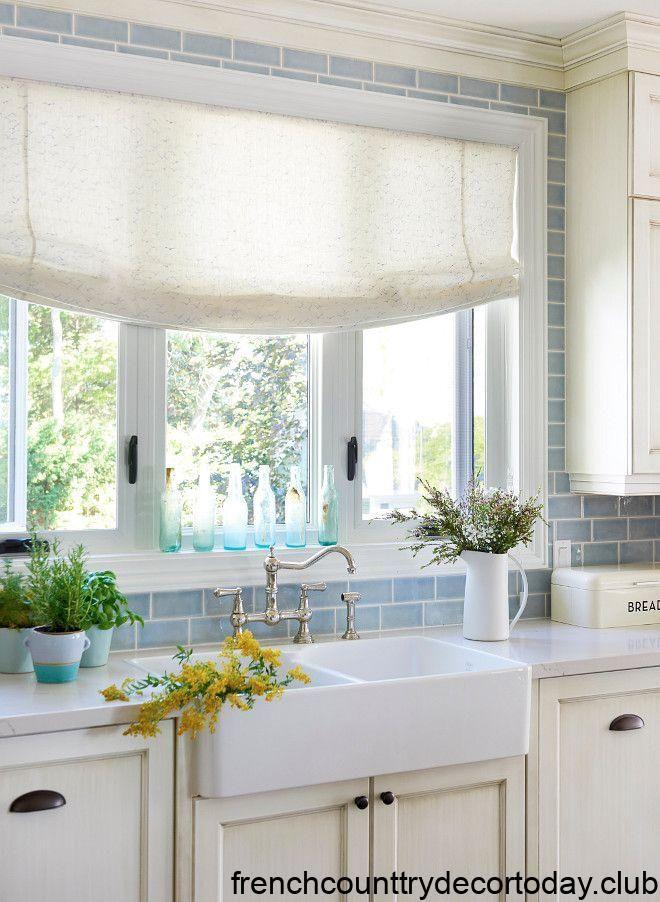 Ontario Lake Cottage Blue Backsplash Farmhouse Kitchen Backsplash Kitchen Backsplash