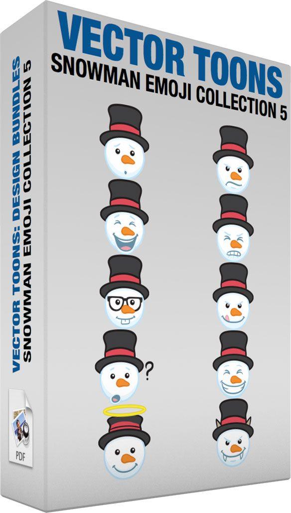 Snowman Emoji Collection 5 #cartoon #clipart #vector #vectortoons #stockimage #stockart #art