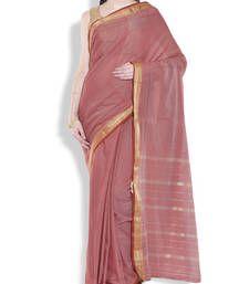 Buy Brown border saree cotton saree cotton-saree online
