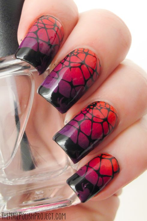 spider and spiderweb design from plate BM-H07 for this manicure over a rough gradient of Essie Vermillionaire, China Glaze Designer Satin an...