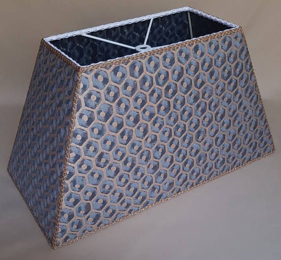 Rectangle Lamp Shade Fortuny Fabric Faded Blue & Gold Favo