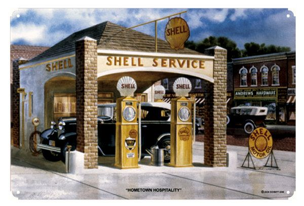 Original Shell Gas Station by Jack Schmitt, Metal Sign, Classic Car, Nostalgic Gas Oil Garage Art FREE Shipping JS-26 by HomeDecorGarageArt on Etsy